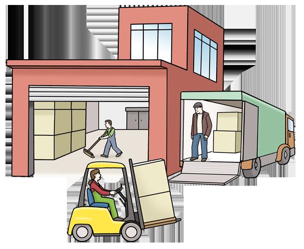 Ein Haus mit einer Firma. Daneben steht ein Last-Wagen. Davor fährt ein Gabel-Stapler